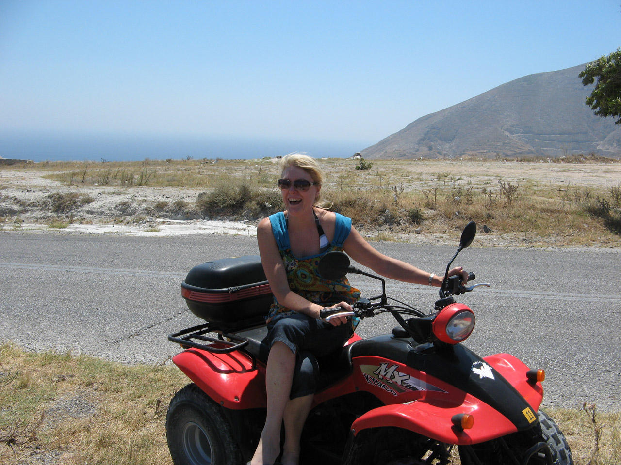 Debs on one of the Quad bikes